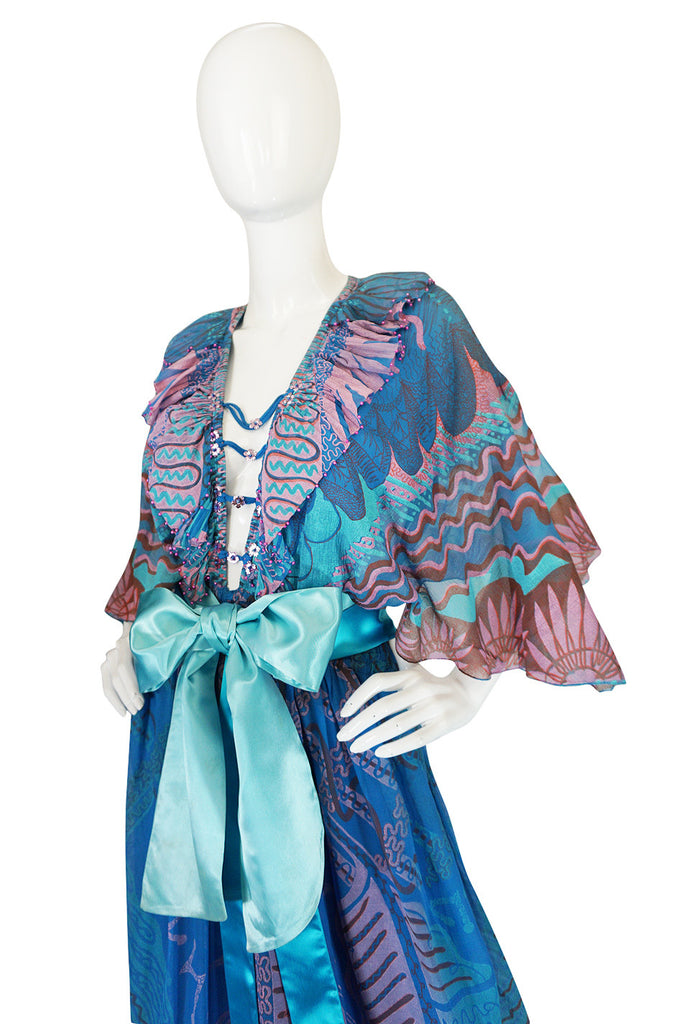 "Rare 1978 Zandra Rhodes ""Mexican Collections"" Gown"