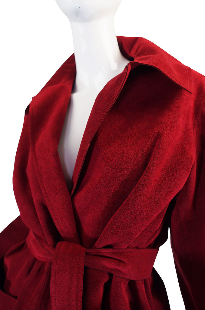 Custom Larger 1972 Red Ultrasuede Halston Suit