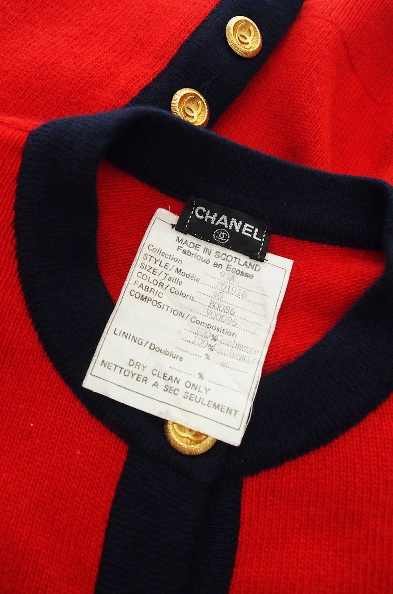 1993 Classic Red Chanel Cashmere Cardigan