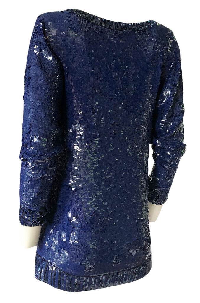 1980s Yves Saint Laurent Densely Covered Blue Sequin Micro Mini or Tunic
