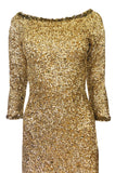 1960s Gene Shelly Gold Sequin w Paillette Detailing Stretch Knit Dress
