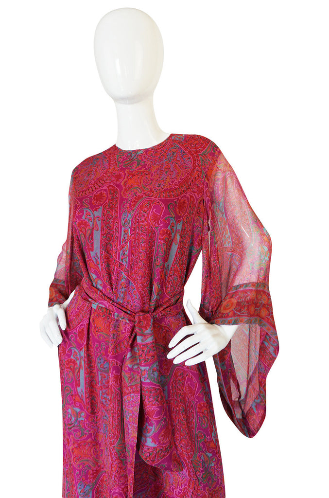 1970s Fine Pink Silk Chiffon Treacy Lowe Caftan Dress