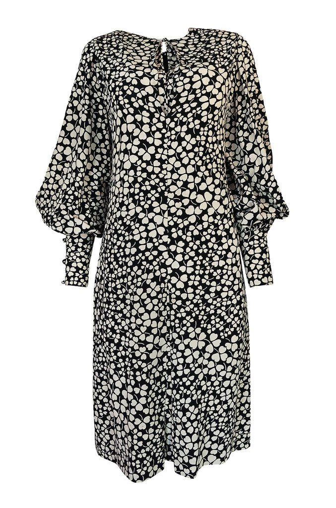 1960s James Galanos Clover & Heart Billow Sleeve Silk Dress