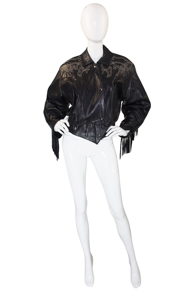 1979 Claude Montana Fringed Leather Jacket