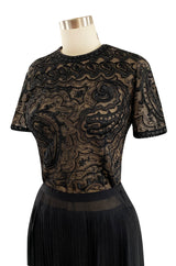 Early 1980s Yves Saint Laurent Haute Couture Hand Embroidered & Beaded Silk Chiffon Top
