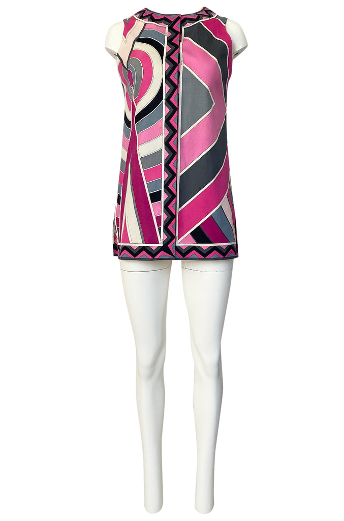 1960s Emilio Pucci Pink Geometric Print Cotton Cover Up or Mini Dress