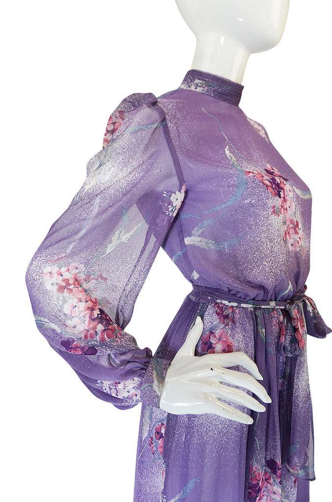 1970s Hanae Mori Romantic Pale Purple Print Chiffon Dress