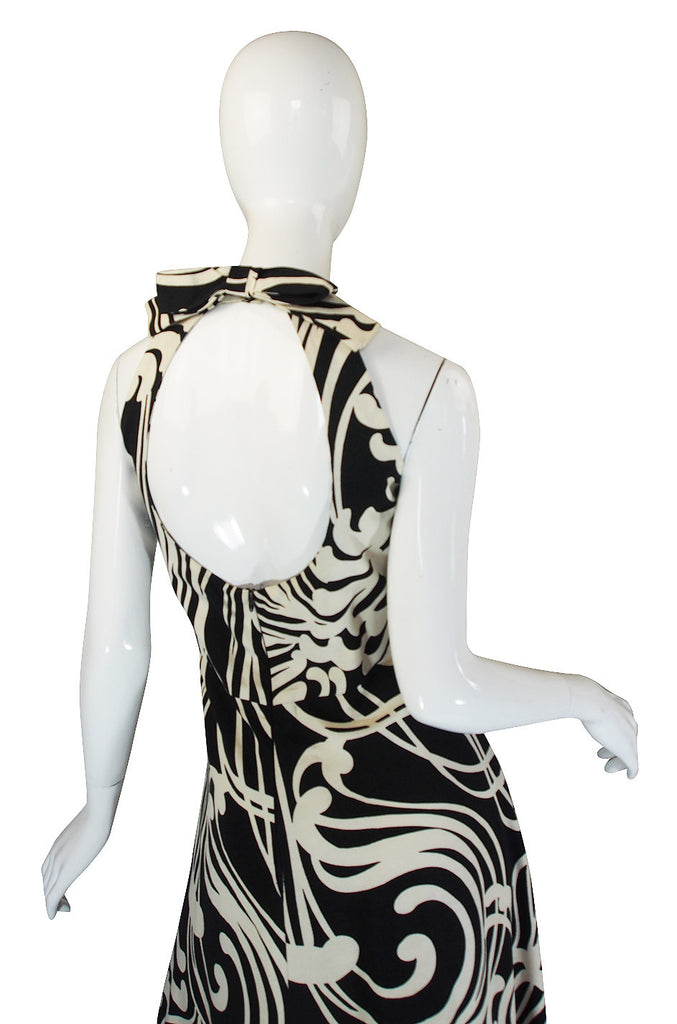 1970s Graphic Geoffrey Beene Silk Backless Dress