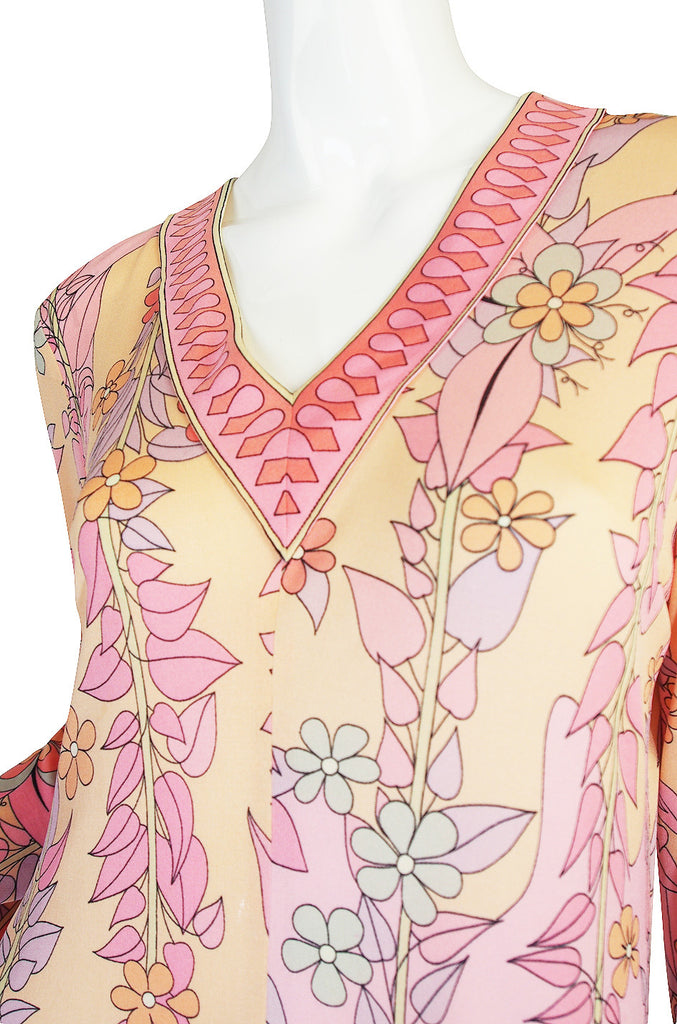 1960s Pink Silk Jersey Bessi Caftan Maxi Dress