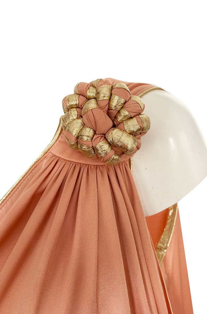 1981 Bill Tice Nude Peach Colour One Shoulder Dress w Gold Detailing