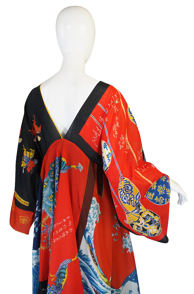 Rare, Early 1970s LaVetta Silk Scarf Caftan Dress
