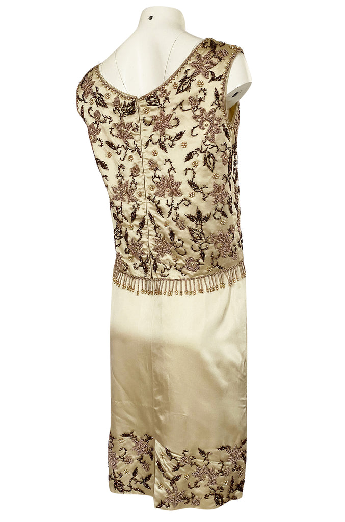 1960s Hand Beaded Silk Satin Skirt, Top & Beaded Sweater Dress Set