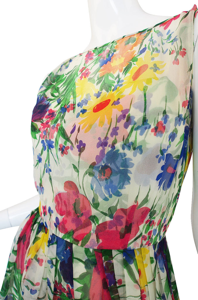 1950s Silk Chiffon Beautiful Floral Dress