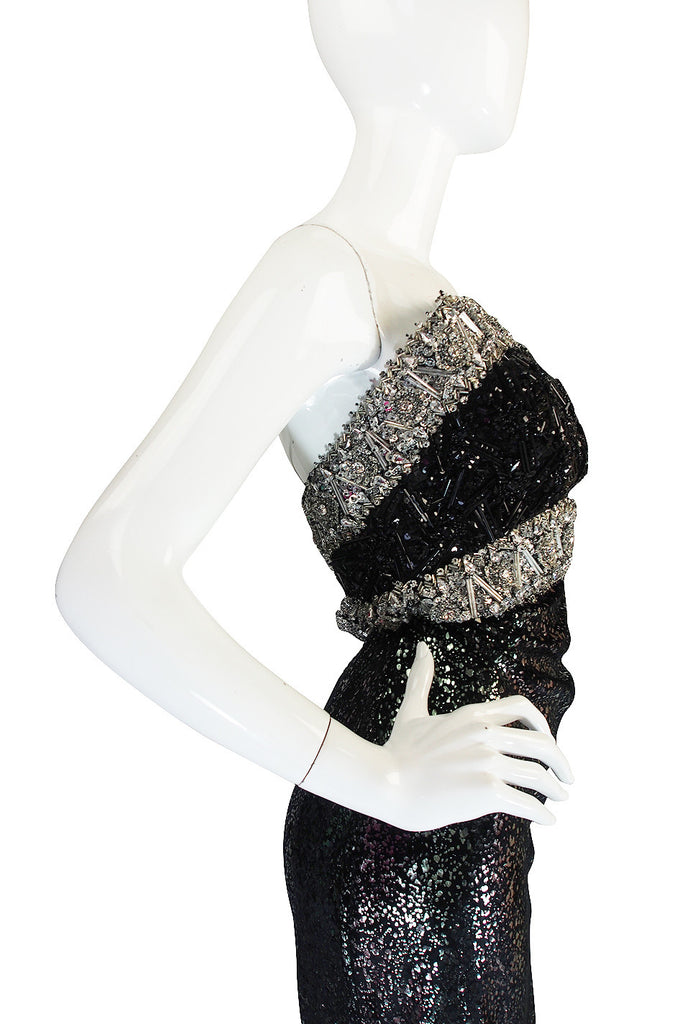 1970s Bead & Crystal Couture Galanos Gown