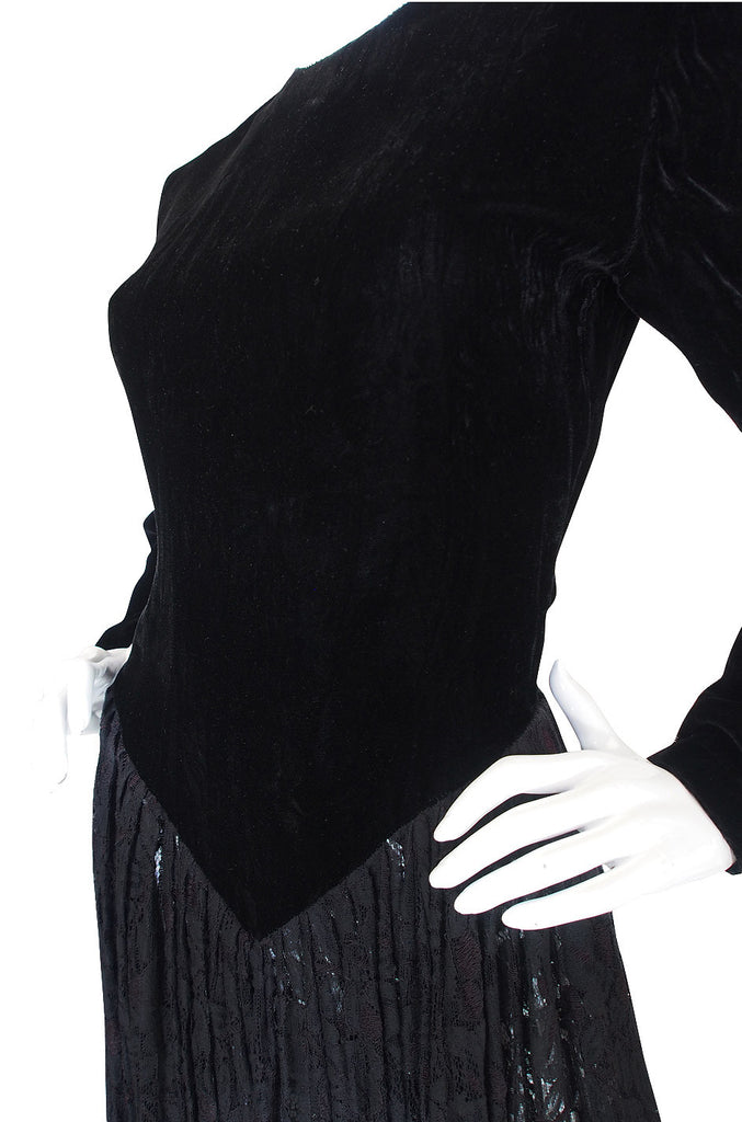 1980s Norma Kamali Velvet & Lace Dress
