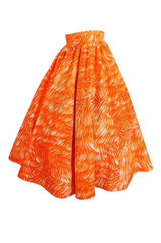 1970s Yves Saint Laurent Printed Cotton Fulll Circle Skirt