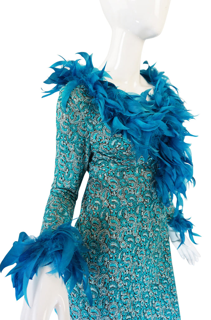 1960s Blue Metallic Thread on Net Feather Dress