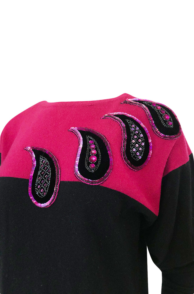 1980s Givenchy Cashmere Sweater & Scarf w Bead & Sequin Detailing