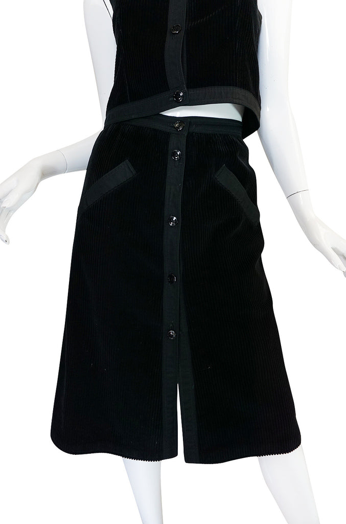 1960s Andre Courreges Black Courduroy Vest & Skirt Set