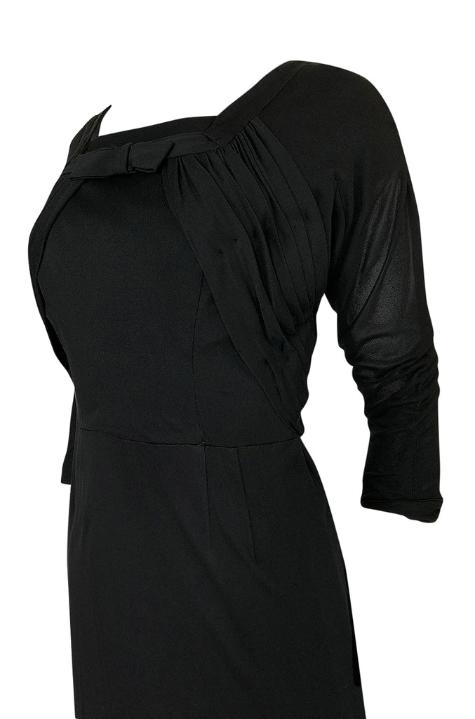 1940s Unlabeled Black Jersey Draped & Fitted Day or Cocktail Dress
