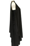 c.1981 Bill Tice Multiple Ways To Wear Black Jersey One Shoulder Dress