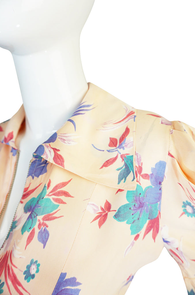 1930s Romantic Silky Rayon Floral Print Pink Dress