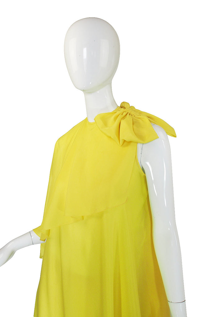 1980s Yellow Silk Pant and Flowing Tunic Set