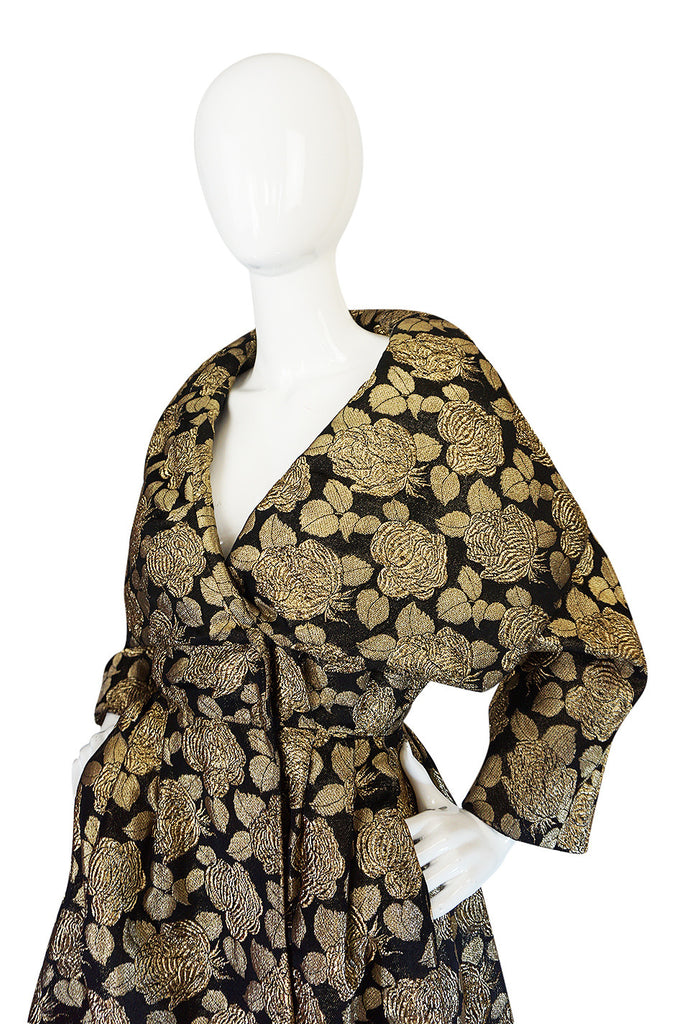 "1950s Rich Gold Thread Silk Brocade ""New Look"" Coat"