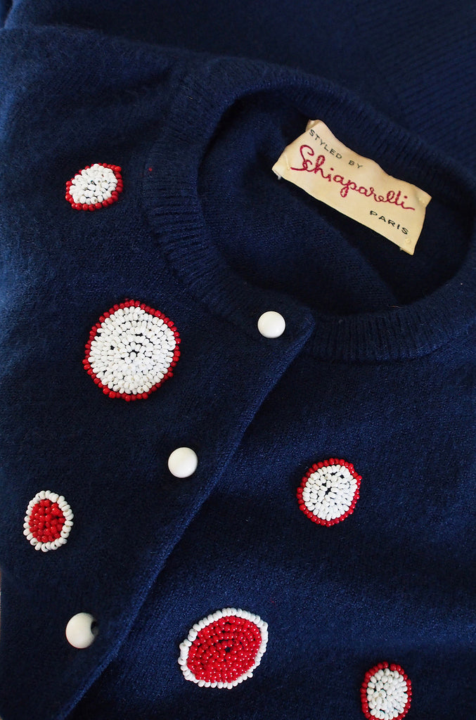 Rare 1950s Schiaparelli Hand Beaded Sweater