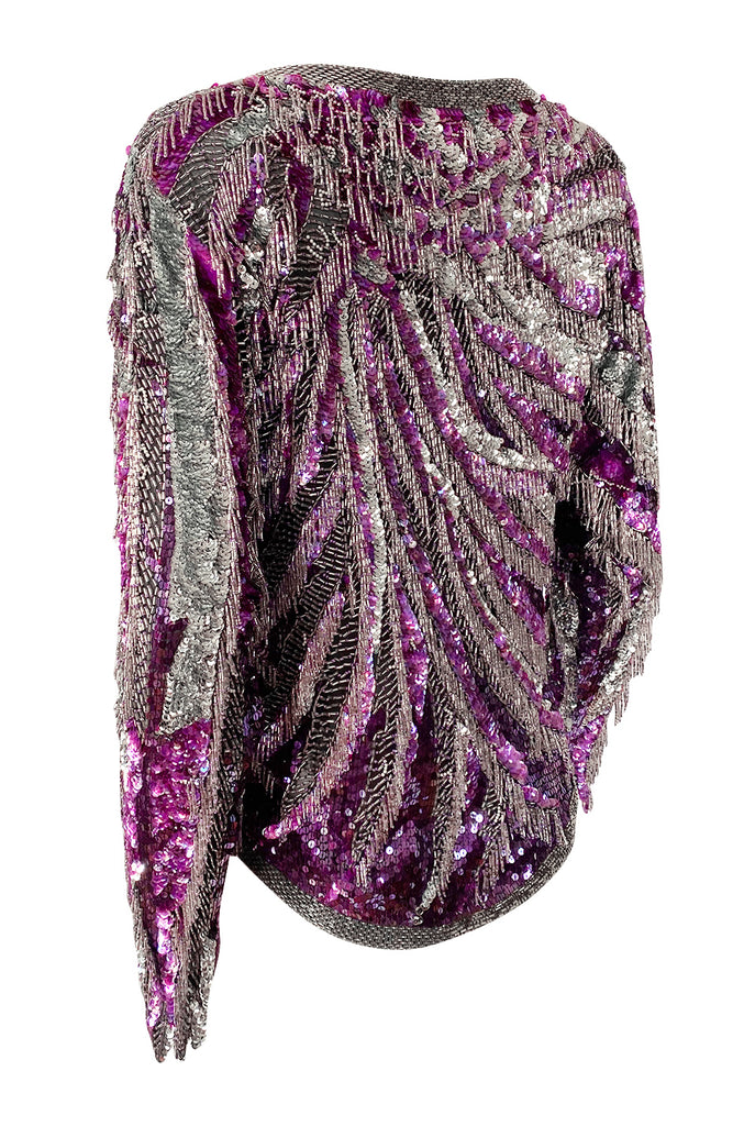 1981 Halston Deep Fuchsia Pink & Silver Densely Sequined and Beaded Top