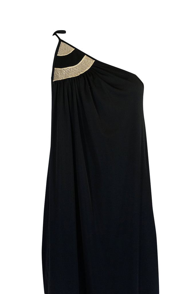 1970s Bill Tice One Shoulder Gold & Black Jersey Dress