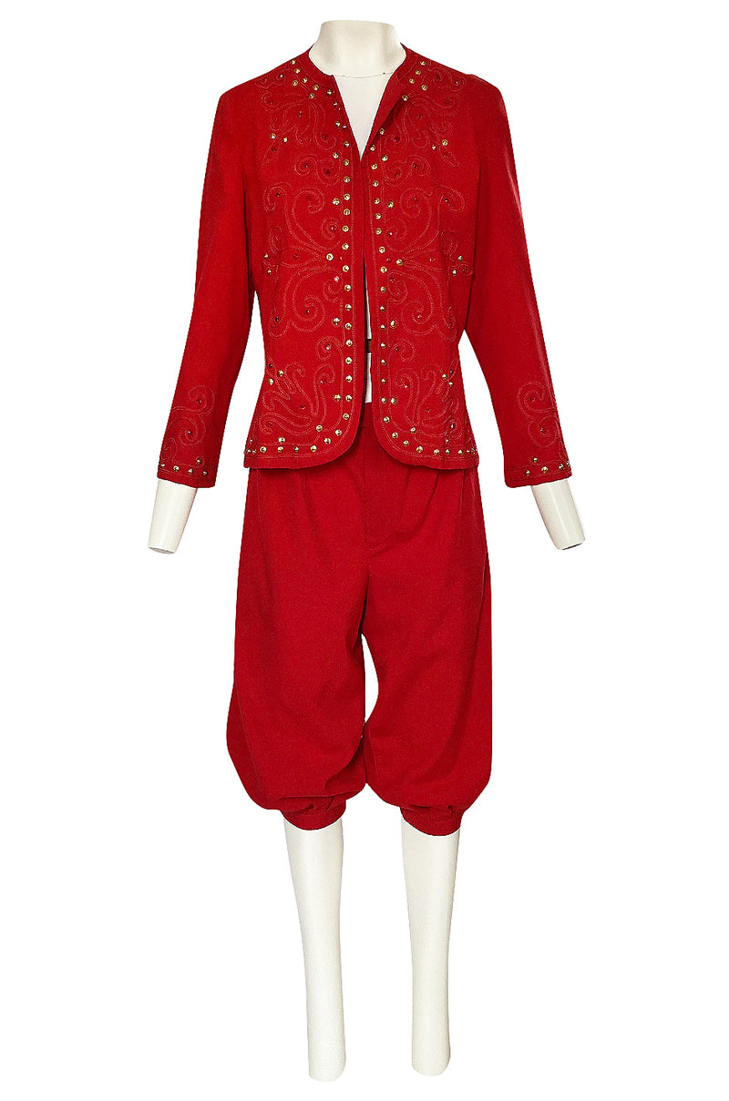 Late 1970s Giorgio Sant'Angelo Red Cropped Pant Suit w Cord & Stud Detailing