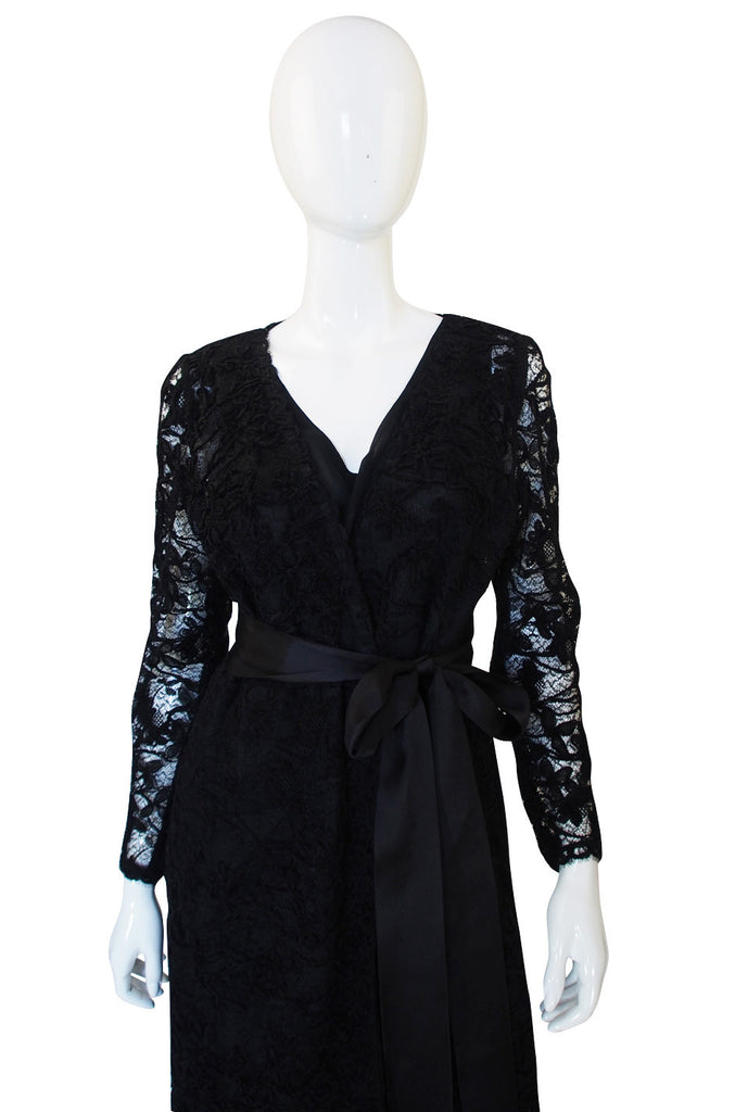 1970s Givenchy Silk Dress & Lace Overlay