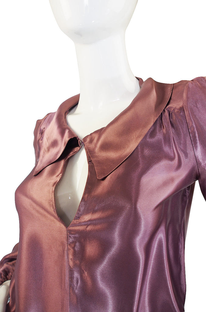 1960s Biba Satin Top with Sequin Detail