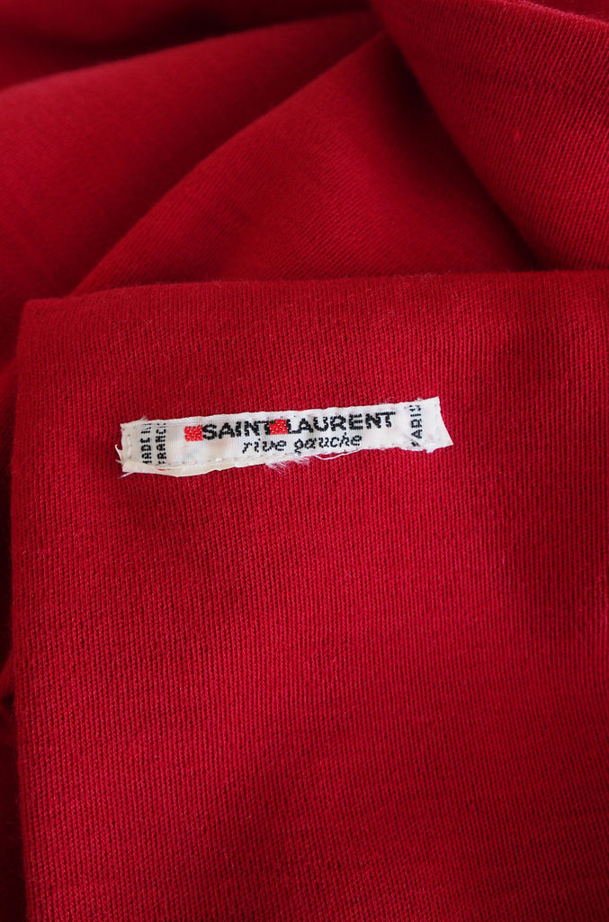 1970s Red Yves Saint Laurent Jersey Knit Scarf