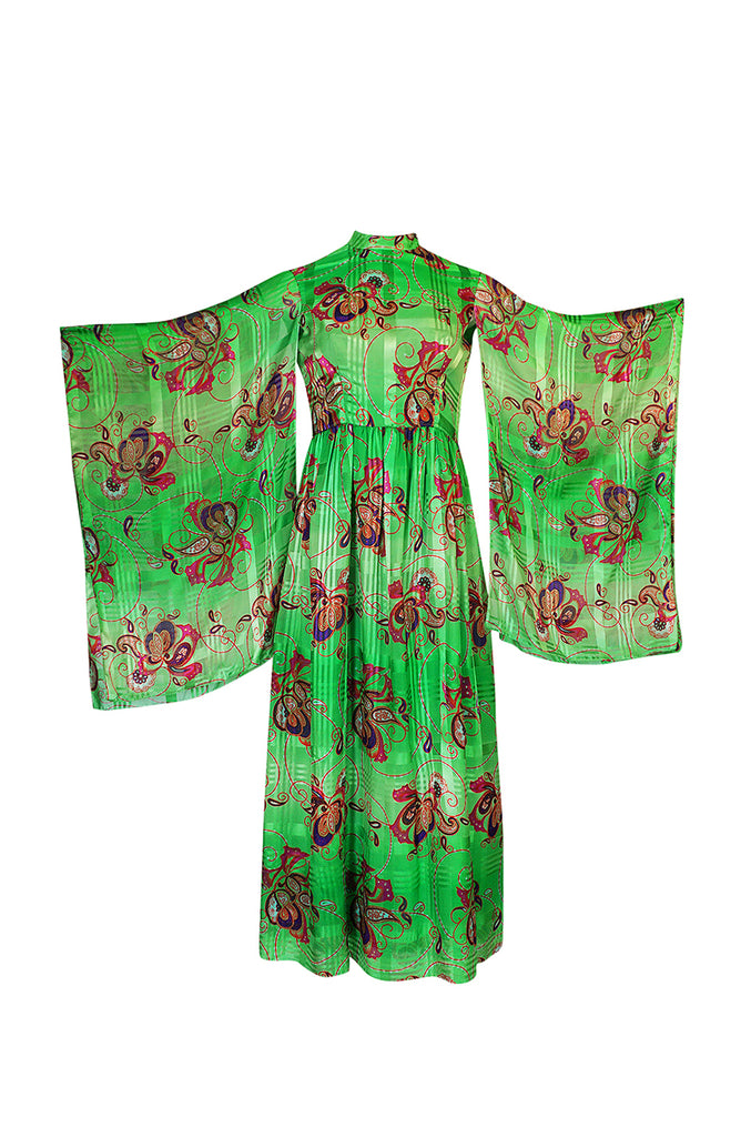 1970s Mollie Parnis Kimono Sleeve Printed Green Silk Dress