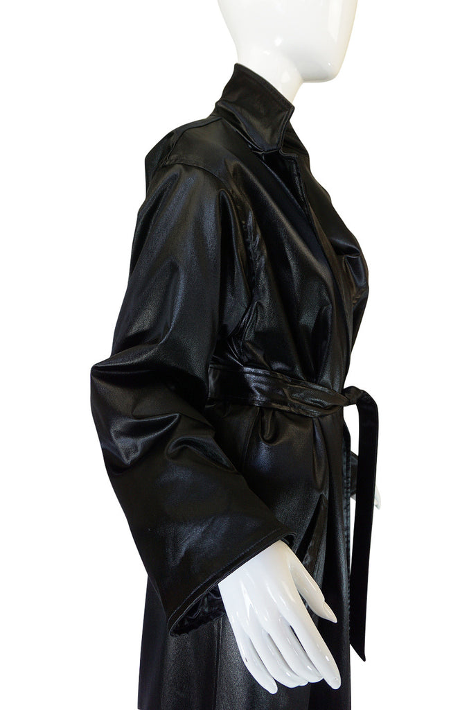 1970s Rare Black Silk Satin Halston Wrap Evening Coat