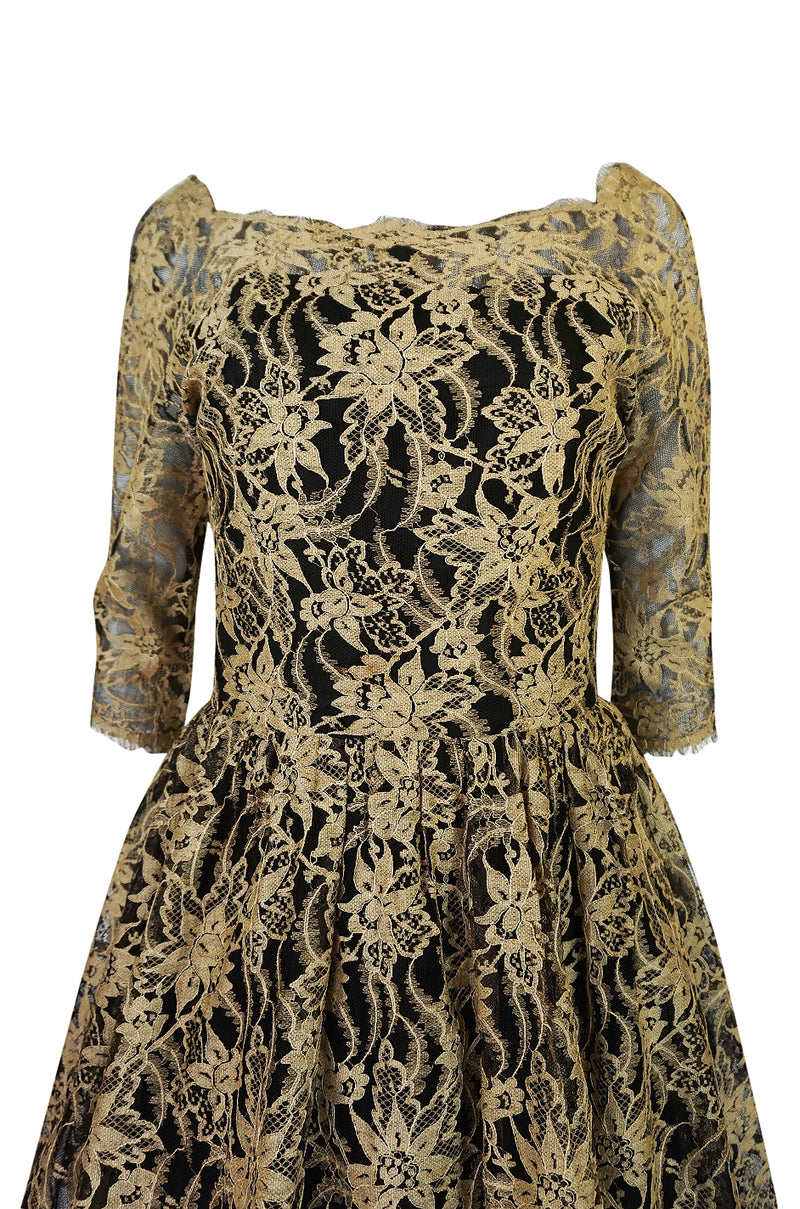Rare 1950s Jacques Heim Full Skirted Black Net Dress w Gold Thread Lace