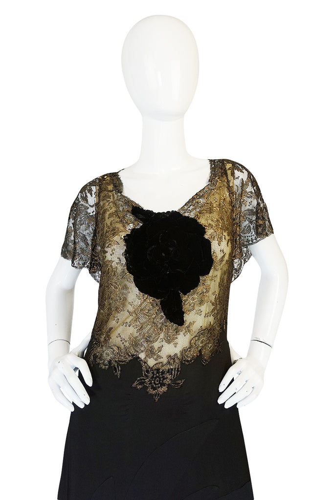 Amazing 1920s Couture Level Gold Metal Lace & Silk Dress