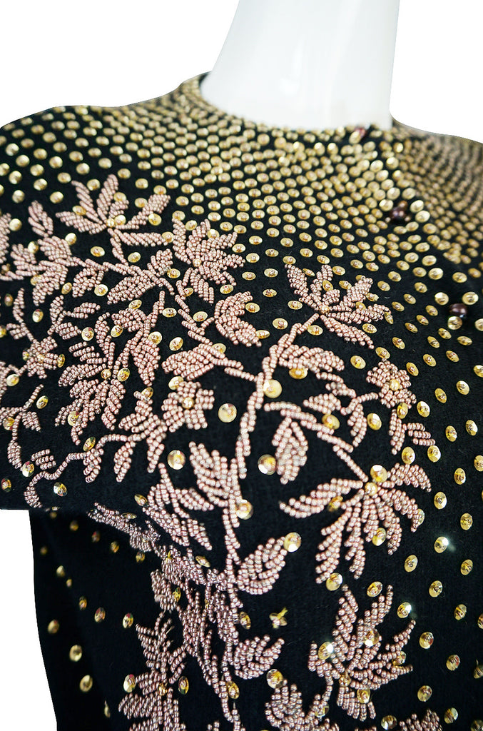 1950s Gold Sequin & Rose Gold Beaded Cashmere Sweater
