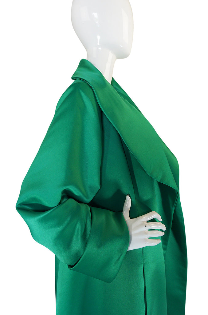 1980s Brilliant Green Silk Satin Evening Full Length Coat