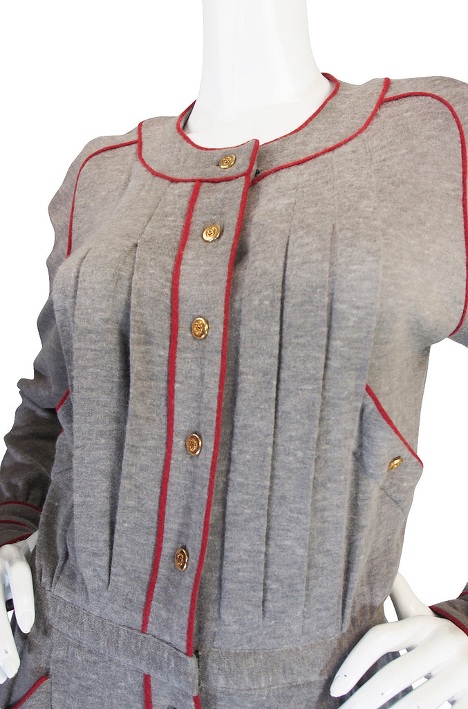 1980s Soft Grey Wool Chanel Button Front Day Dress
