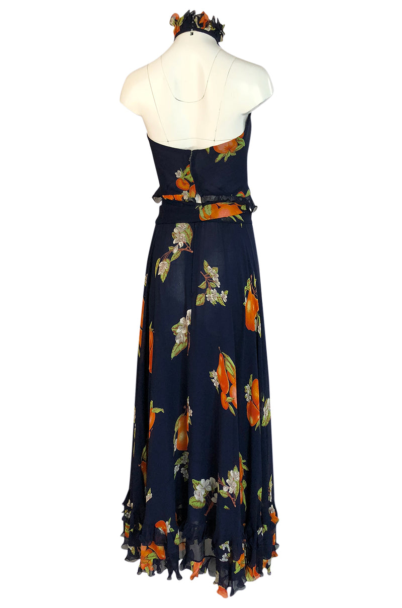 1970s Valentino Four Piece Roma Print Full Length Halter Top Dress Set