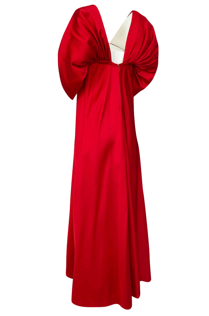 1970s Stavropoulos Deep Red Silk Full Length Dress w Pouf Sleeves