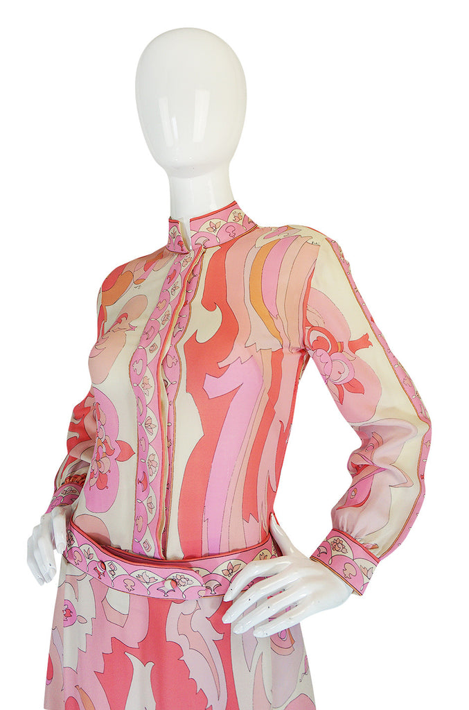 1960s Emilio Pucci Pink Silk Chiffon Print Dress & Belt