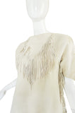 Exceptional 1960s Fringe Cream Deerskin Mini Dress