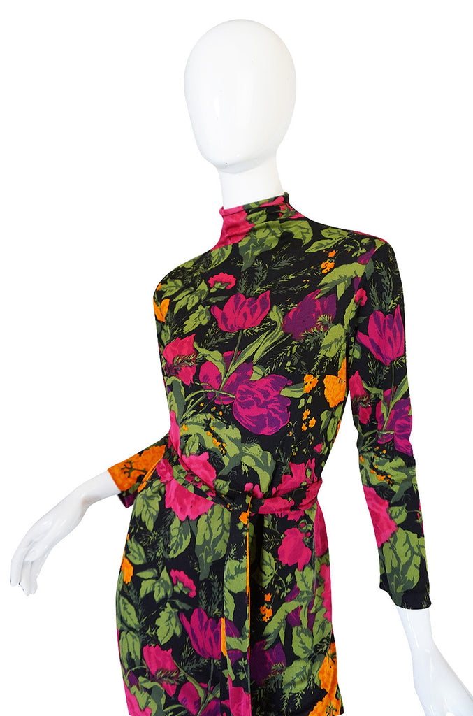 1970s La Mendola Long Silk Jersey Print Dress