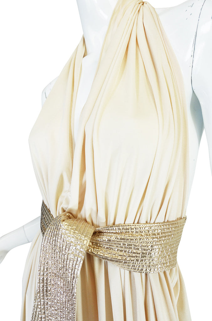 1970s Bill Tice Cream & Gold Backless Jersey Plunge Gown