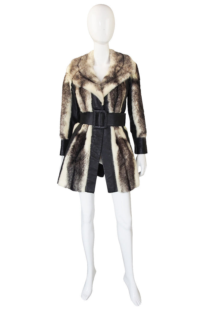 1970s Belted Leather & Mink Fur Jacket