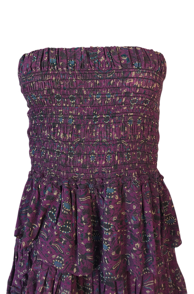 S/S 2011 Isabel Marant Strapless Purple Print Runway Dress Look 3